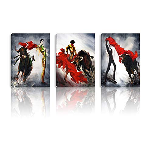 BPAGO Matador red Gray Painting Imitation Modern Oil Painting Bullfight Wall Decor Paintings on Canvas Wall Art for Living Room Bedroom Home Office Stretched and Framed Ready to Hang 36 - Poster Matador Art