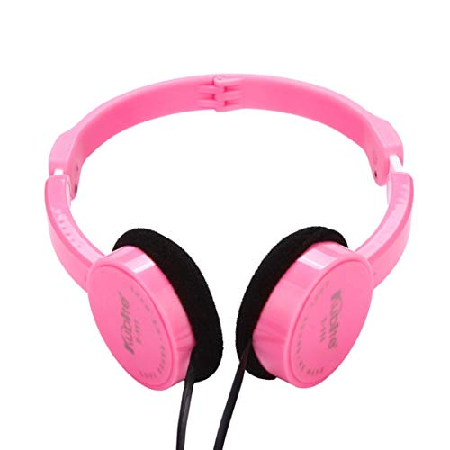 Price comparison product image Kubite Kids Wire Headphones,  Noise Reduction School Wired Headphone,  Lightweight Foldable Stereo Tangle-free 3.5mm Audio Jack,  Microphone,  In-line Controller On-Ear Headsets for Children (pink)
