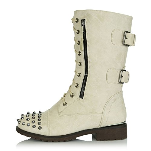 up Boots Pu Exclusive Front DailyShoes Booties Mid Card High Military Ivory Knee Credit Lace Buckle Studded Women's Pocket Combat qxwtRwYF