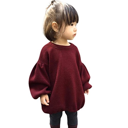 GBSELL Toddler Baby Kids Girls Lantern Sleeve Shirt Tops Outfits Clothes Fall Winter (Wine, 24M)