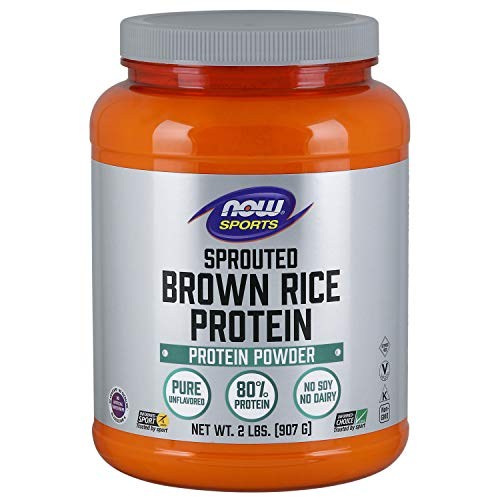 (NOW Sports Nutrition, Sprouted Brown Rice Protein Powder, Unflavored, 2-Pound)