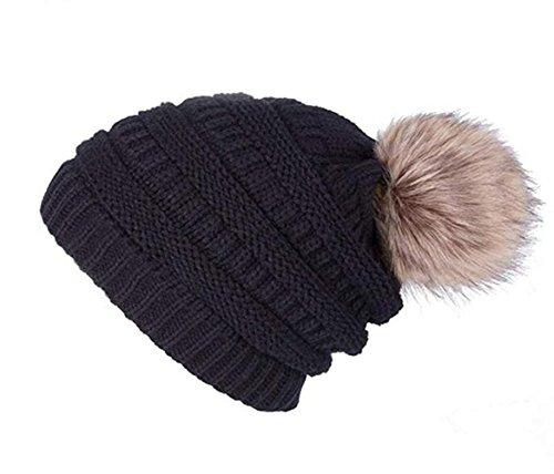 45d13e26bae Jiuhexu Womens Winter Warm Slouchy Knit Beanie Chunky Faux Fur Pom Poms Hat  Bobble Hat (