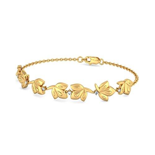 Or jaune 18K, 0.09CT TW Round-cut-diamond (Ij| SI) Identification-bracelets