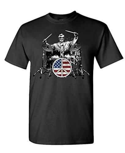 (Rock 101 - Abraham Lincoln Drummer Drums - Mens Cotton T-Shirt, M,)