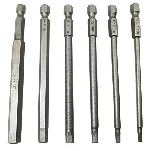 LEROM 6Pcs Hex Head Allen Wrench Drill Bit Set, 100mm/4 inch long Magnetic Inner Hexagon Hex Head Drill Screwdriver Bits Set with 1/4 Inch Hex Shank Quick Release Screwdriver Bit ()