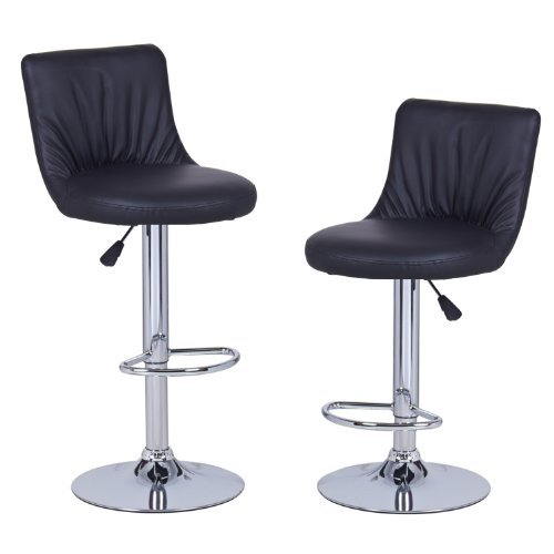 Adeco Black Hydraulic Lift Adjustable Puckered Leatherette Barstool Chair Chrome Finish Pedestal Base (Set of Two)