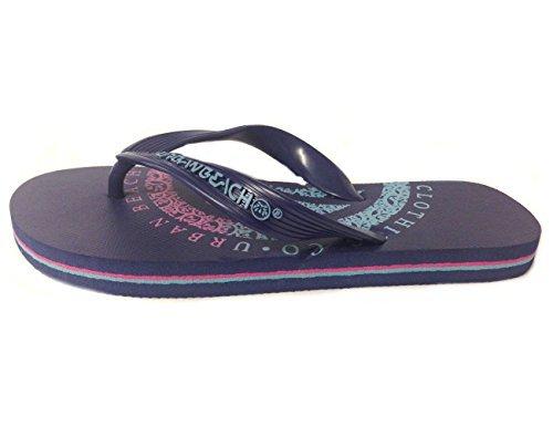 Boys Urban Beach Insignia Rubber Flip Flops - Blue or Green Blue Zxe0j0S6c2