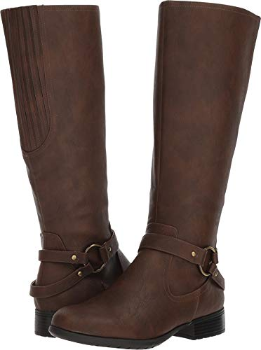 (LifeStride Women's X-Felicity Low Heel Tall Shaft Boot Knee High, Dark tan, 9 M)