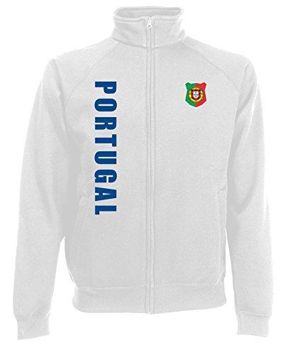 Portugal Sweatjacke Jacke Trikot Wunschname Wunschnummer (Weiß, L)