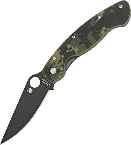 Spyderco (C36GP) Military Model G-10 Black Blade Plain Edge Knife, Camo