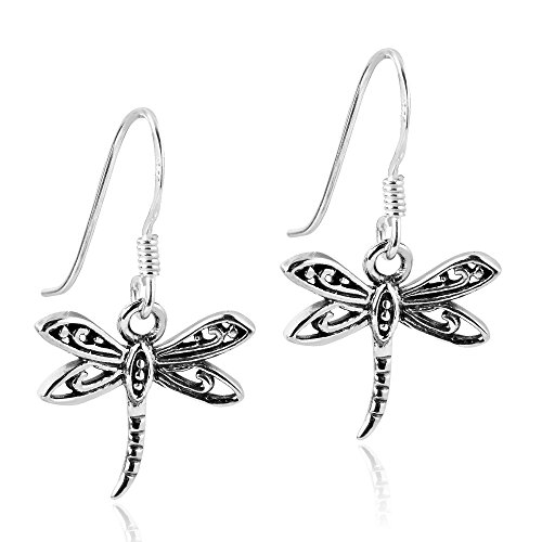 Flying Filigree Dragonfly .925 Sterling Silver Dangle Earrings