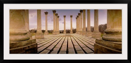 greatBIGcanvas Walkway surrounded by freestanding columns, US Capitol Columns, National Arboretum, Washington DC Photographic Print with Black Frame, 48