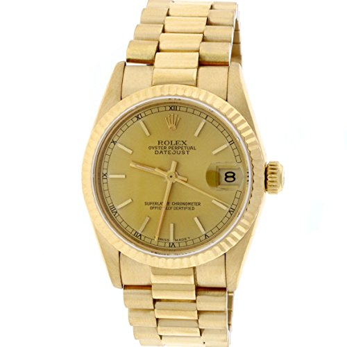 Rolex President Datejust Midsize 18K Yellow Gold Factory Champagne Stick Dial 31MM Watch (Ladies Rolex Datejust President Watch)