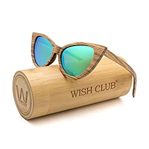 WISH CLUB Cat Eye Bamboo Polarized Sunglasses Wood for Women Girls Handmade Mirrored Lenses Vintage Wooden UV400 Eyewear Fashion Light Cute Sun Glasses with Box (Green)