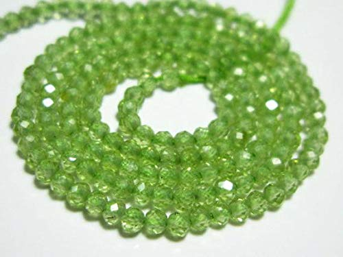 GemAbyss Beads Gemstone AAA Peridot Micro Cut Rondelle- 13 Inch Long Strand -Stones Measure- 2mm Code-MVG-10041