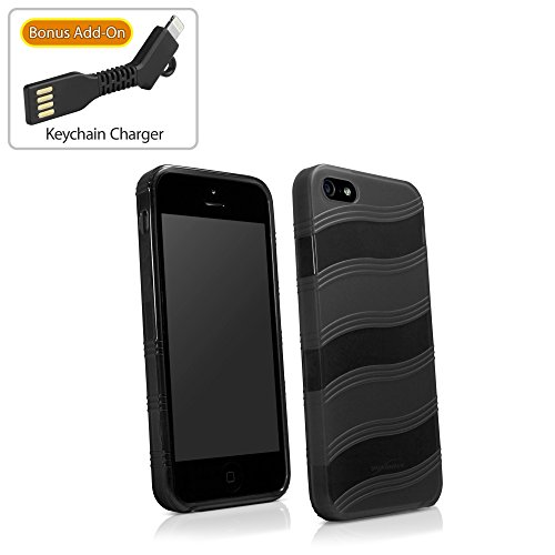 Coque Iphone se, BoxWave® [Airwave Coque avec chargeur Porte-clés Bonus] TPU durable comme antidérapante pour Apple iPhone se, 5S, 5–Noir Jet