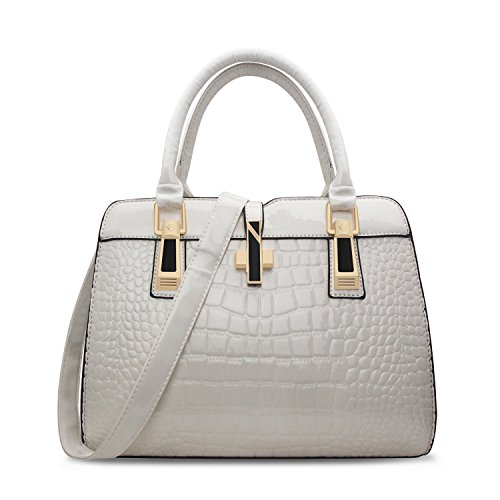 Crocodile Embossed Handbag,ZZSY Women Leather Shoulder Bag Fahion Vintage Ladies Top handle Satchel (Crocodile Handbag)