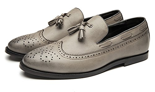 Grey Brogue on Stylist Fringed Santimon Formal Grey Shoes by Brown Mens Slip Dress Oxford Retro Black 0qw61xFt