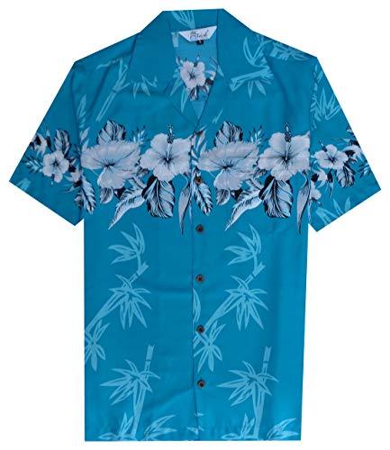 Hawaiian Shirt 35 Mens Bamboo Tree Print Beach Aloha Party Holiday Turquoise XL