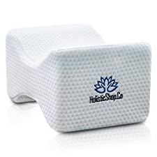 HolisticShop Knee Pillow - Memory Foam Leg Support with Washable Cover. Best for Sciatica Relief, Back Pain, Leg Pain, Pregnancy, Hip and Joint Pain