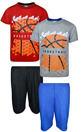 Tuff Guys Boys 4-Piece Performance Sports Themed T-Shirt and Sort Set, Basketball, Size 10/12'