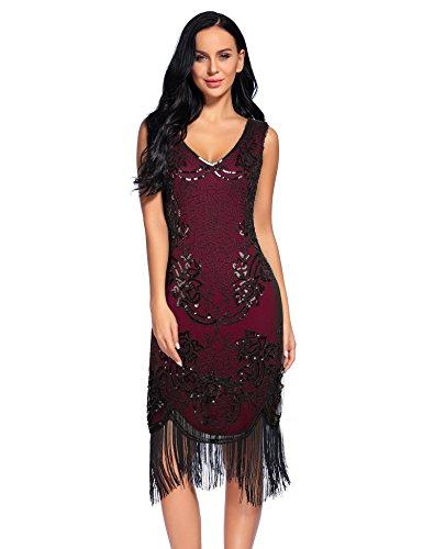 Flapper Dress Costume Plus Size (Flapper Girl Women's 1920S Vintage V Neck Sequin Beads Fringed Wine Flapper Dress (XXL, Wine Red))