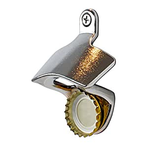 Wally McMagnet ™ Wall Mounted Bottle Opener With Magnetic Cap Catcher by Barsity Sports - Stainless Steel Finish Bottle Opener with Embedded Magnetic Catcher and Mounting Hardware for Indoor Outdoor