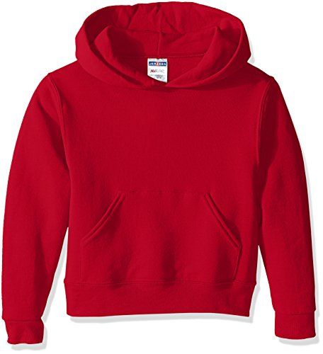 (Jerzees Youth Pullover Hood, True Red, Large)