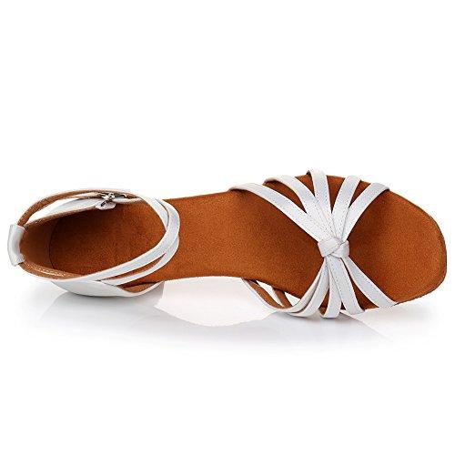 Bianco Alta Ballo da Scarpe per da Ballo Donna Scarpe LP in di 5cm 217 Raso Sala Ballo HROYL qualità Latino da 1PxWRqBffn