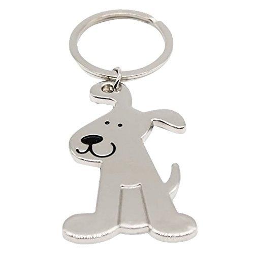 Allure*love 3 Pcs Smooth Dog Puppy Metal Keychain Keyring Keyfob Key Ring Car Keyring