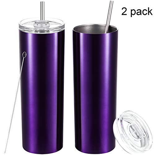 2 Pack Stainless Steel Skinny Tumbler, Double-Insulated Water Tumbler Cup With Lid and Straw, Outdoor Unbreakable Travel Slim Bottle for Hot Cold Drinks with Cleaning Brush (Bright Purple, 20 OZ) (Tumbler Purple Cup)