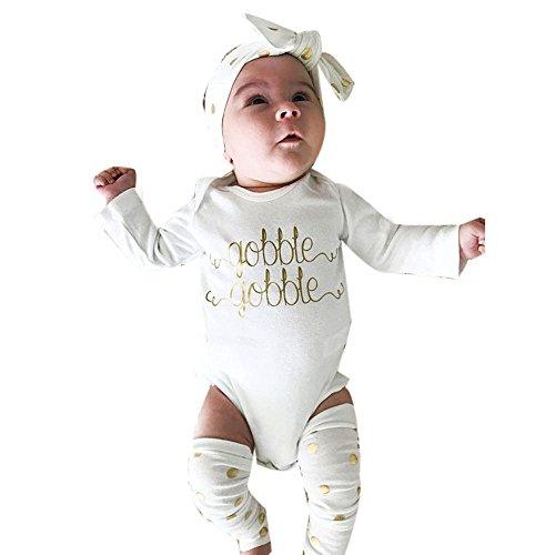 (Newborn Thanksgiving Pajamas Gobble Alphabet Romper+Leg Warmer+Bow Headband)