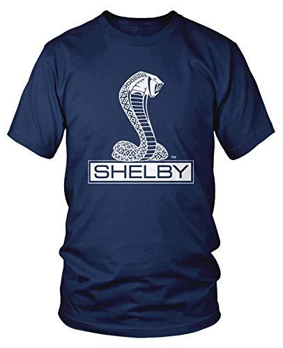 Amdesco Men's Shelby Cobra Logo T-Shirt, Navy Blue Medium