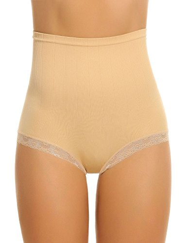 Teamyy Braguita Mujer Sólido Cintura Alta Remiendo de Encaje Ropa Interior sin Costura desnudo