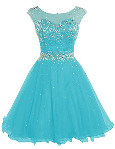 Belle House 2017 Short Tulle Beading Homecoming Dress Prom Gown Turquoise