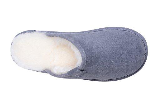 Rusnak Damen Lammfell Hausschuhe Echtleder Gefuttert Wolle Pantoffeln Schlappen Schuhe Grau/Weiß
