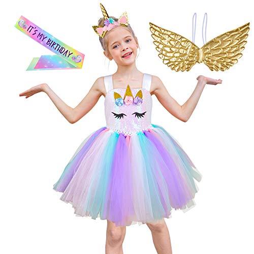 Fairy Tale Chiffon Dress (ICOSY Unicorn Tutu Dress with Headband and Wings, Unicorn Costume Outfit Girls Party Dress Flower Pageant Princess)