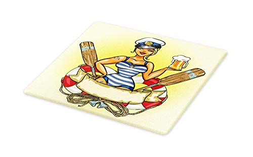 (Ambesonne Retro Cutting Board, Pin-Up Sailor Girl Lifebuoy with Captain Hat and Costume Glass of Beer Feminine, Decorative Tempered Glass Cutting and Serving Board, Large Size,)