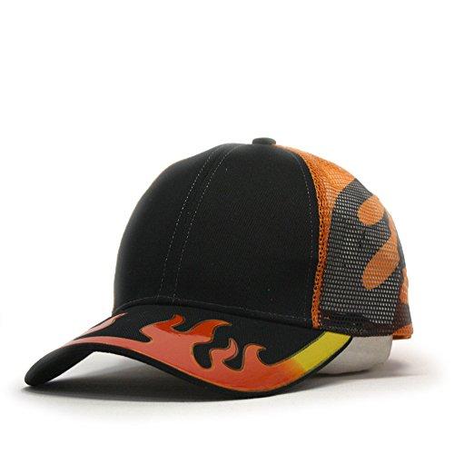 Flame Cap (Vintage Year Plain Cotton Twill Mesh Adjustable Trucker Baseball Cap (Flame Black Orange 96R))