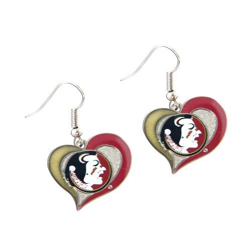 Rick Florida State Seminoles Swirl Heart Dangle Logo Earring Set Charm Gift NCAA (Charm Florida Logo Seminoles State)