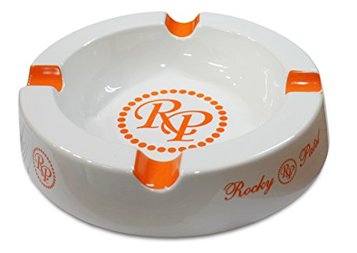 Rocky Patel Circular Ceramic White / Orange Cigar (Rocky Patel Ashtray)