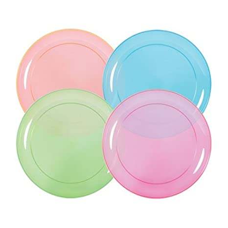 Green and Orange Blue 8-Pack 6-inch Hard Plastic Plates Tiger Chef Neon Assorted Party Plates Assorted Neon Colors Pink