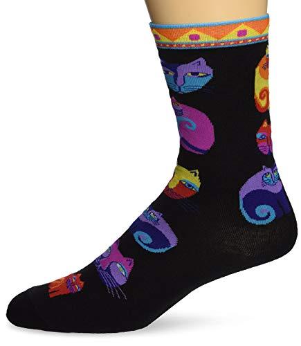 Laurel Burch Socks-Feline Festival -Black
