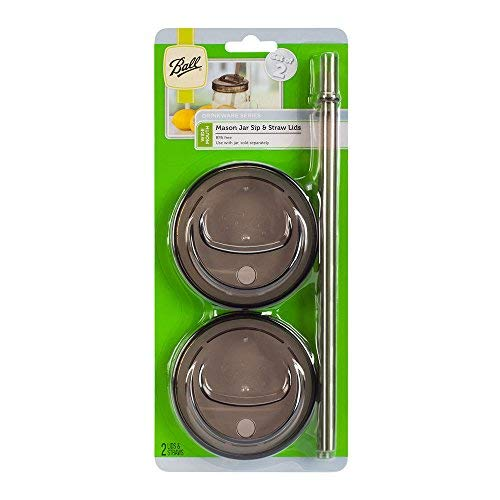 Ball 4-Piece Sip & Straw Lids Set for Wide Mouth Mason Jars | Grey | (2-Lids and 2-Straws)]()