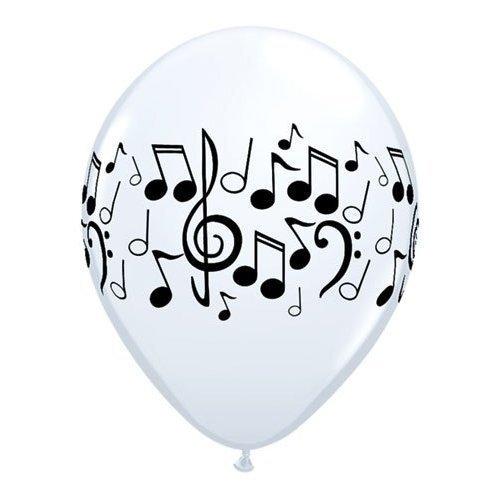 Black & White Music Notes 11 Latex Qualatex Balloons x 5 by Qualatex Music/Disco/Rock & Roll Theme