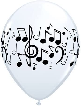 "5 x  11/"" WHITE MUSIC NOTES LATEX BALLOONS Birthday Balloons"