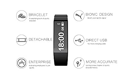 ipegtop Vidonn X6s Fitness Tracker,Touch Key Sleep Monitor Pedometer Smart Watch Band Activity Wristband with Oled Calling and Text Display Bluetooth V4.0 (black)