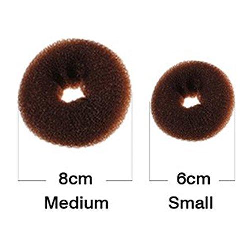 HiiBabyChildren Kids Girls Ballet Dance Hair Bun Donut Ring Shaper Hair Styler Maker Doughnut Former Sponge PACK OF 2 SIZES Small & Medium (Brown)