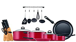 Prestige Aluminum Non-stick Cookware Set of-22 Pieces, Red PR20965