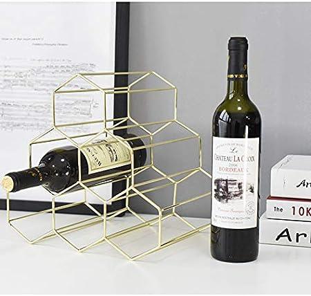 Estante De Vino De Metal De 6 Botellas, Soporte De Almacenamiento De Vino De Sobre Encimera, Botellero Moderno Para Vino Dorado / Dorado Rosa, Protector Apilable Para Vinos Tintos Y Blancos DFVV